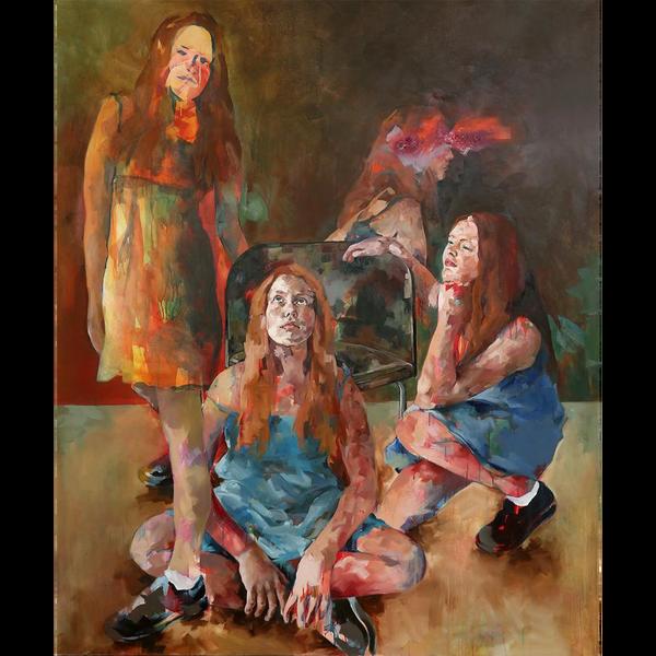 Die Tochter von Claudia Mächler wird in vier verschiedenen Positionen gezeigt. Die Figuren verblassen zunehmend.