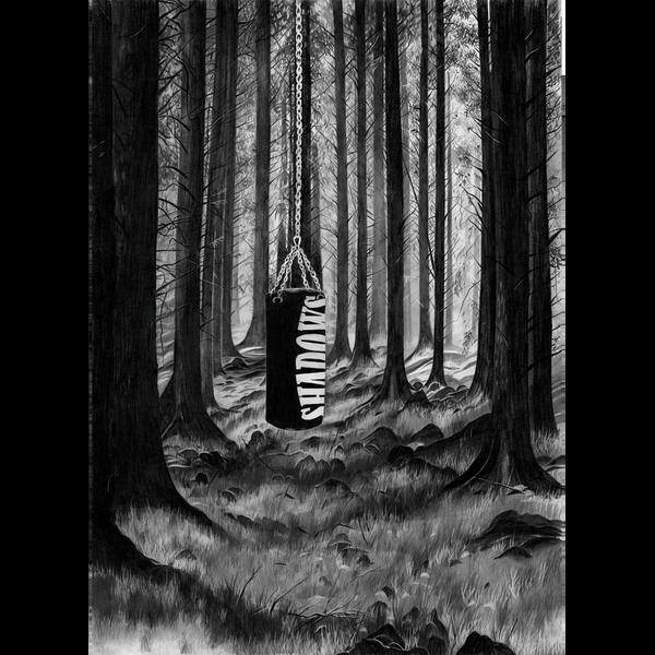 """Eine Bleistiftzeichnung zeigt einen Boxsack, der im Wald hängt. Auf dem Boxsack steht in weißen Lettern """"Shadows""""."""