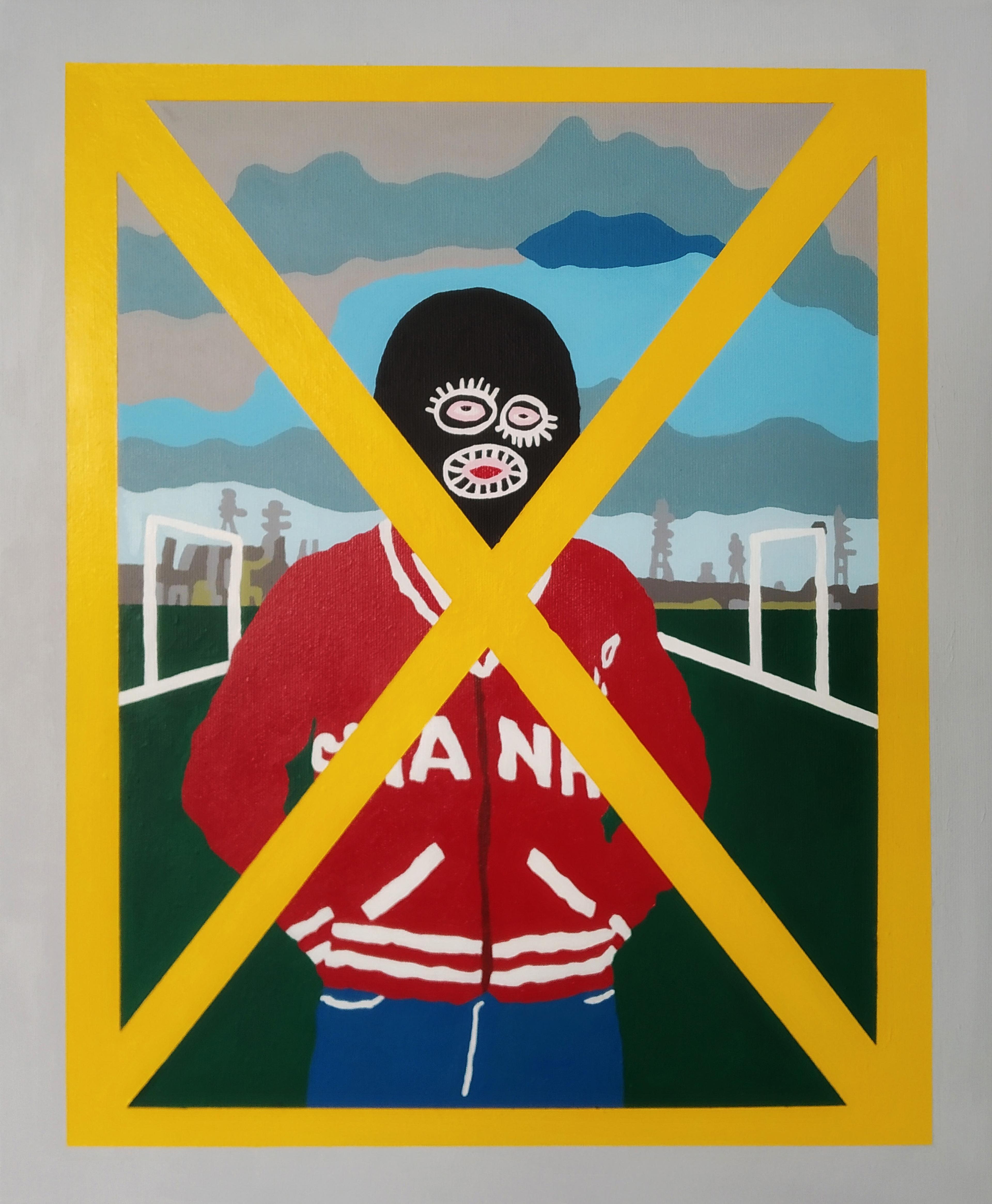 artwork Self Portrait with Yellow X by Gidi Gilam