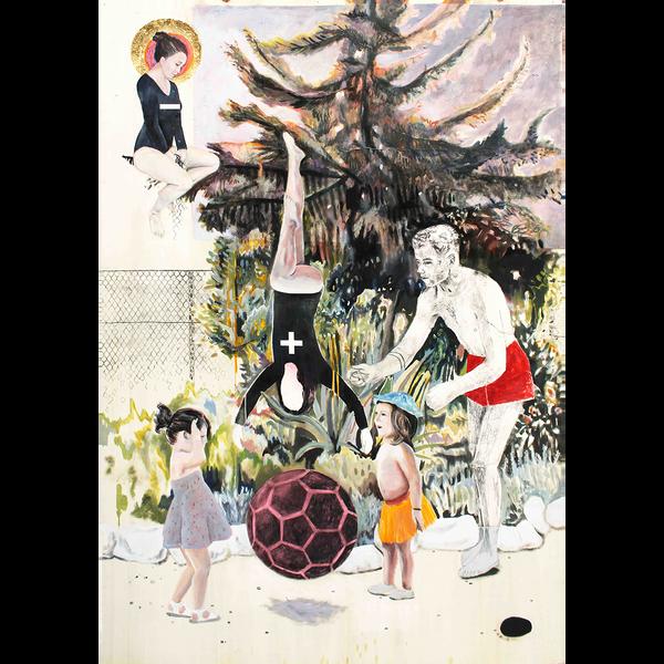 Mehrere Figuren, darunter einige Kinder, stehen vor einem Weihnachtsbaum.