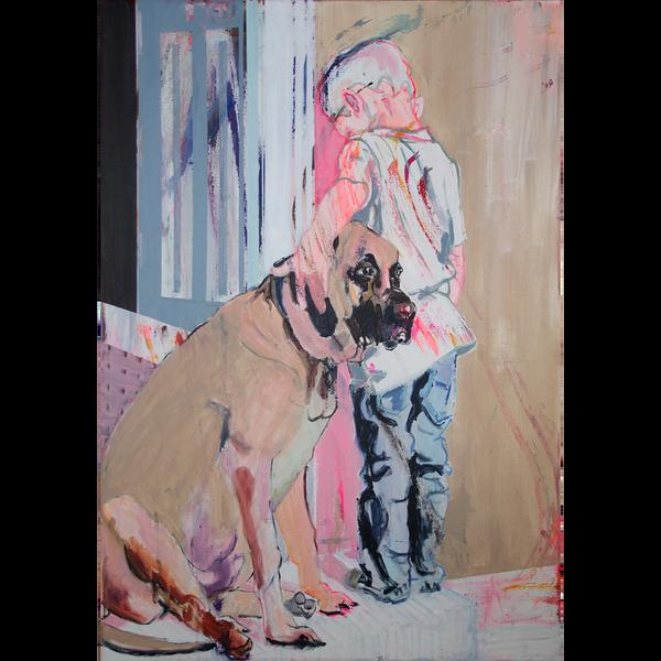 Eine abstrakte Malerei von einem Kind, das einen Hund streichelt.
