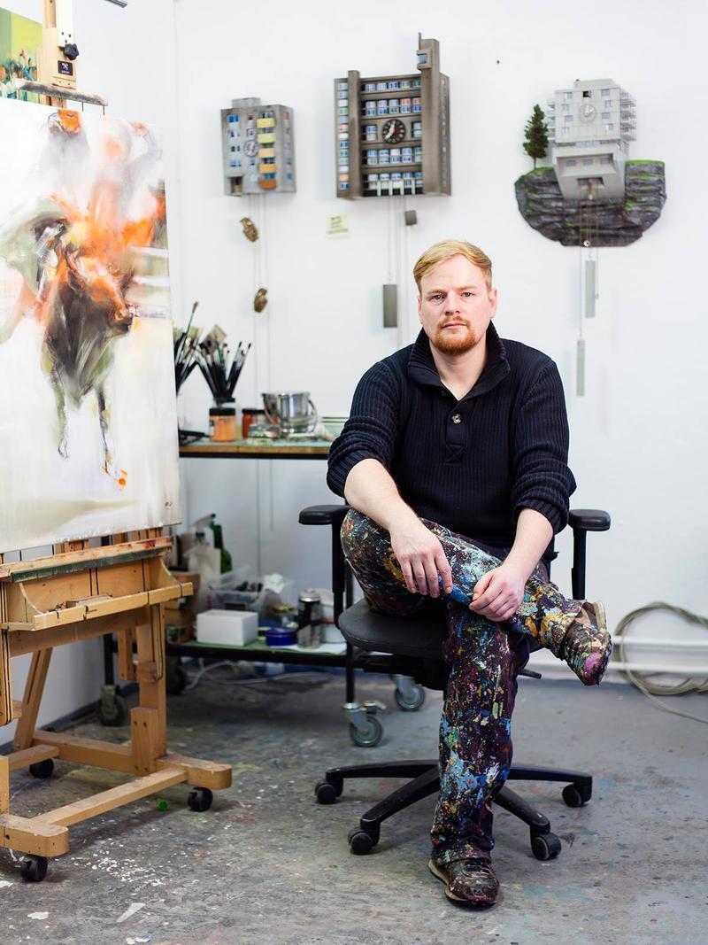 Foto von Guido Zimmermann in seinem Atelier