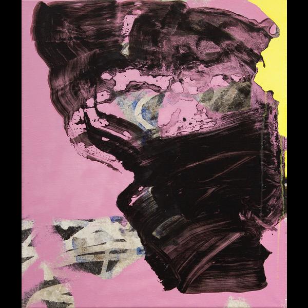Eine schwarze abstrakte Form auf einem pinken Hintergrund.