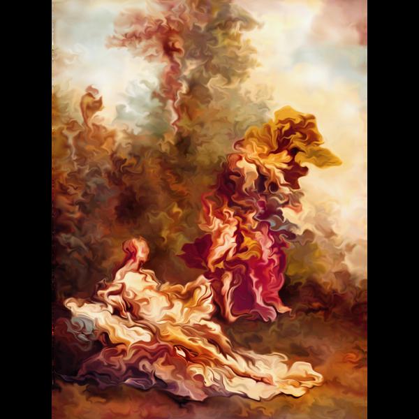 Eine abstrakte digitale Malerei in orangen, gelben und roten Tönen.