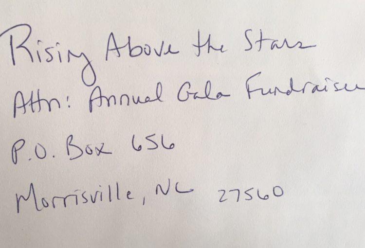handwritten envelope addressed to Rising Above the Stars