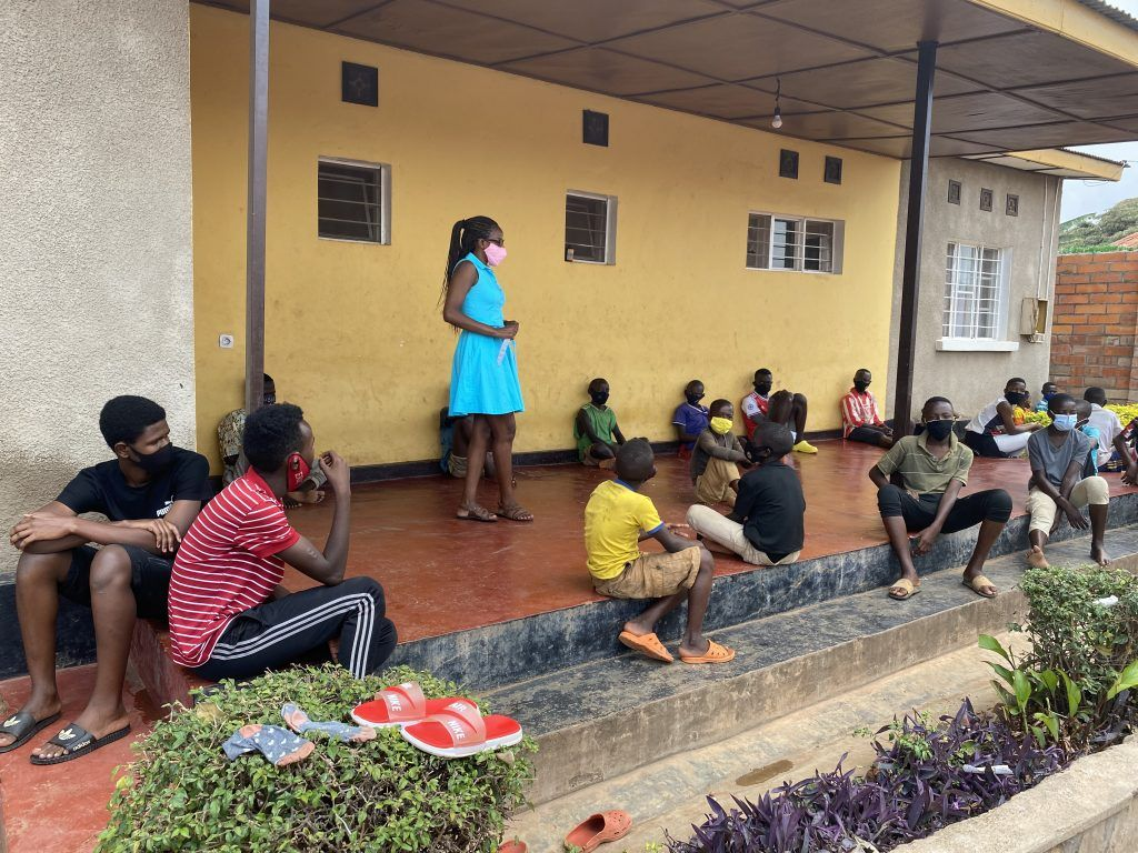 Alphonsine in Rwanda at the Learning Center with children