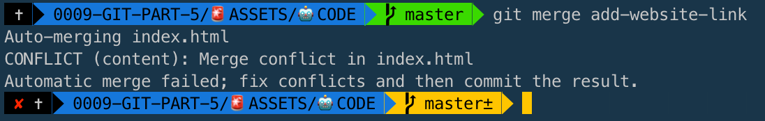 Merge Conflict within the Terminal