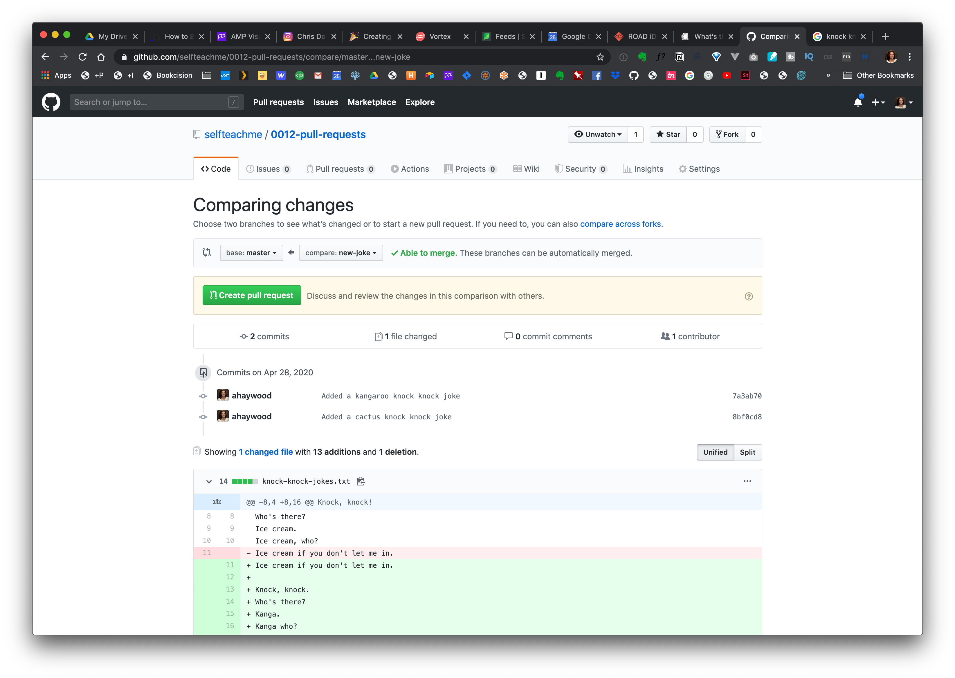 Starting a new Pull Request in GitHub