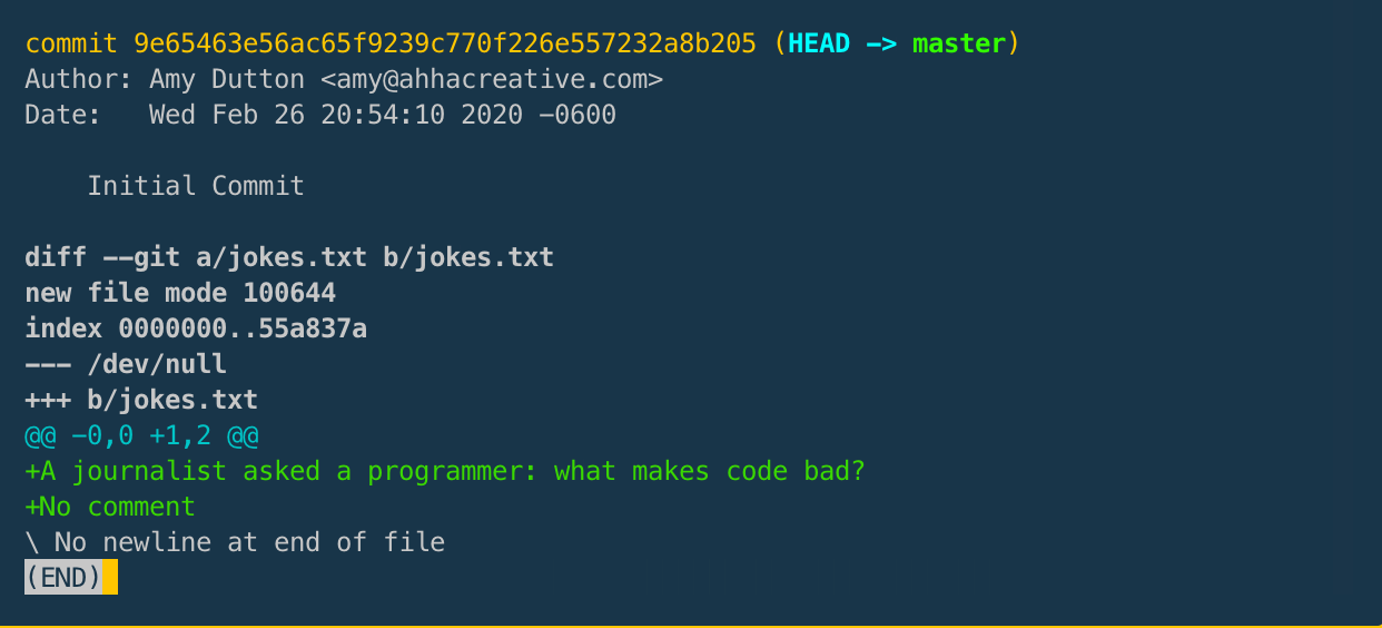 git show within the Terminal