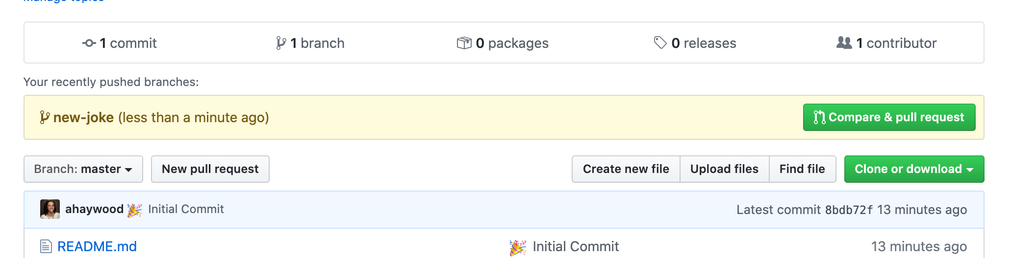 Create a new Pull Request in GitHub