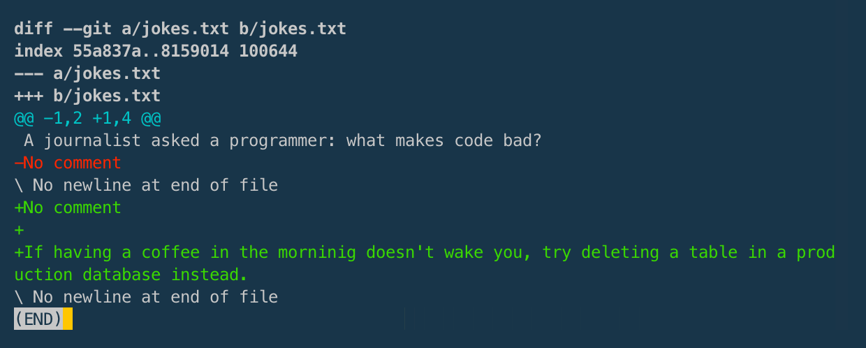 git diff filename within the Terminal