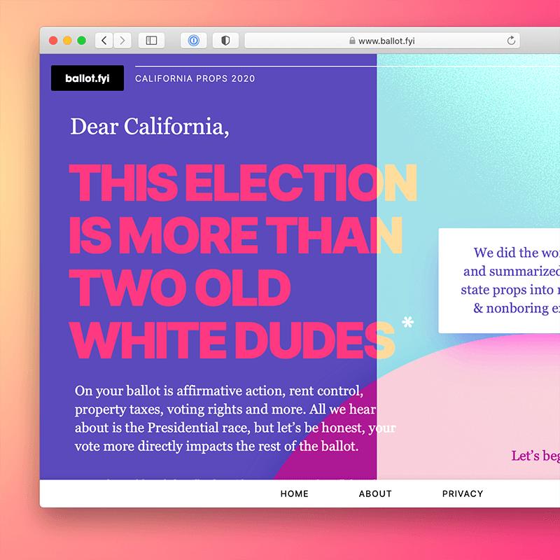 A screenshot of ballot.fyi in 2020