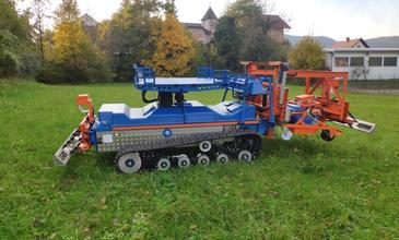 An agricultural robot Slopehelper challenges steep vineyards and orchards