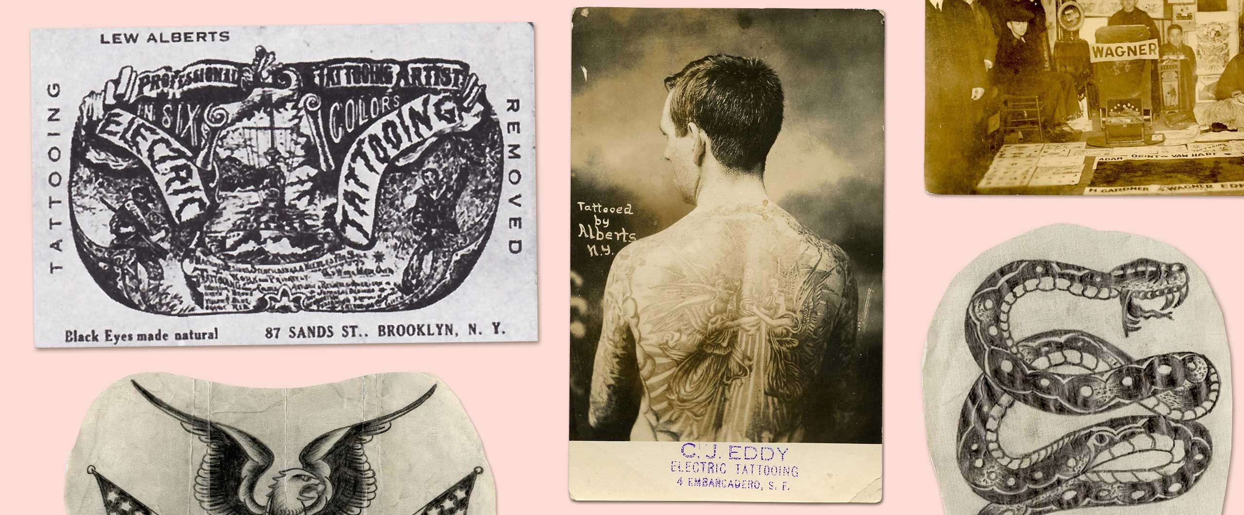 Early 20th Century Tattoo Drawings Lew the Jew Alberts