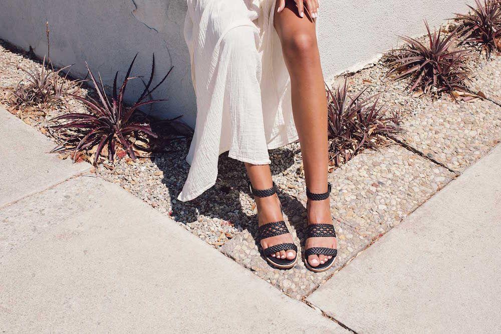 Bared_Footwear_Womens_Black_Leather_Nubuck_Linnet_Sandals_White_Linen_LA_Summer_Up_Close