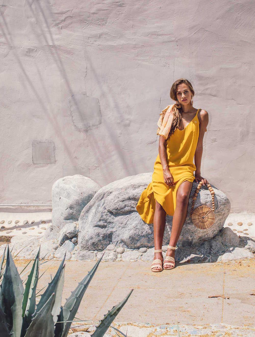 Bared_Footwear_Womens_Linnet_Cream_Nubuck_Sandals_Yellow_Dress_LA_Summer