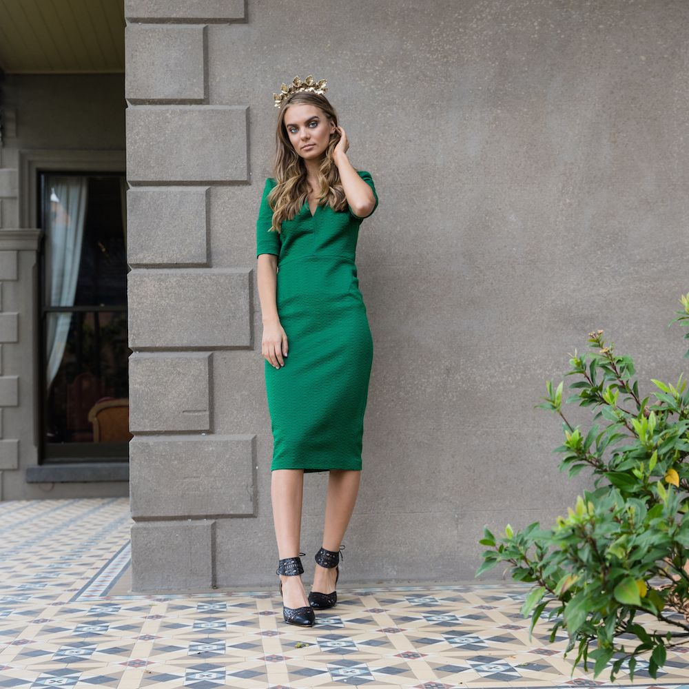 Bared_Footwear_Womens_Spring_Racing_Tristyn_Lecia_Bird_Of_Paradise_Black_Leather_Heels_Green_Coco_Lola_Dress