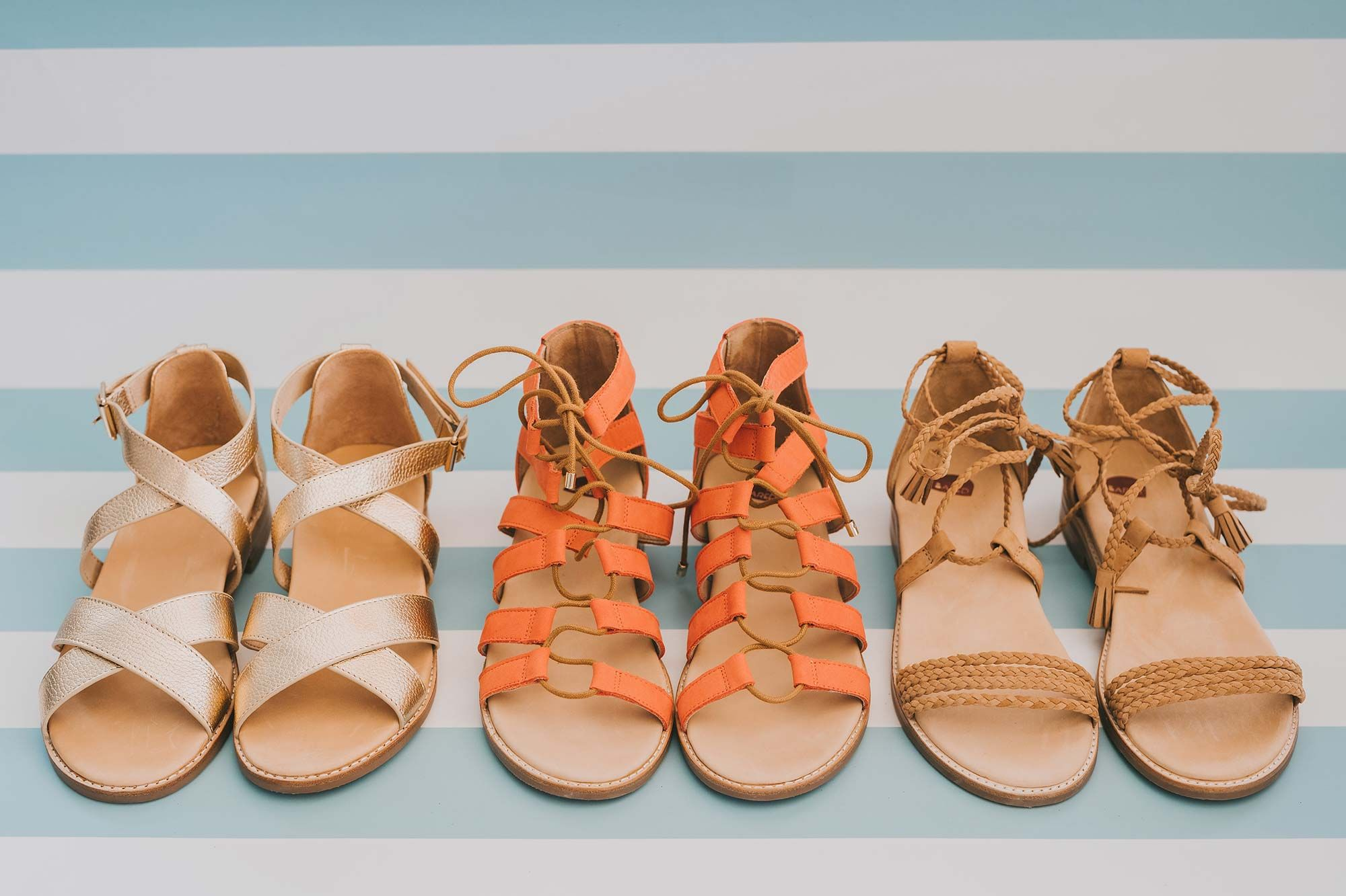 Bared_Footwear_Engagement_Party_With_Lenzo_Womens_Gold_Leather_Robin_Sandals_Tangerine_Goose_Tan_Galah_Sandals