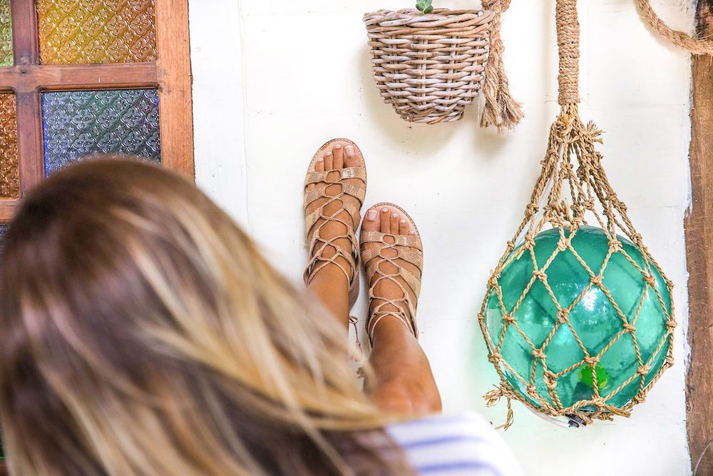 Bared_Footwear_La_Brisa_Bali_Travel_Summer_Womens_Campaign_Toucan_Rose_Gold_Lace_Up_Sandals_Close_Up