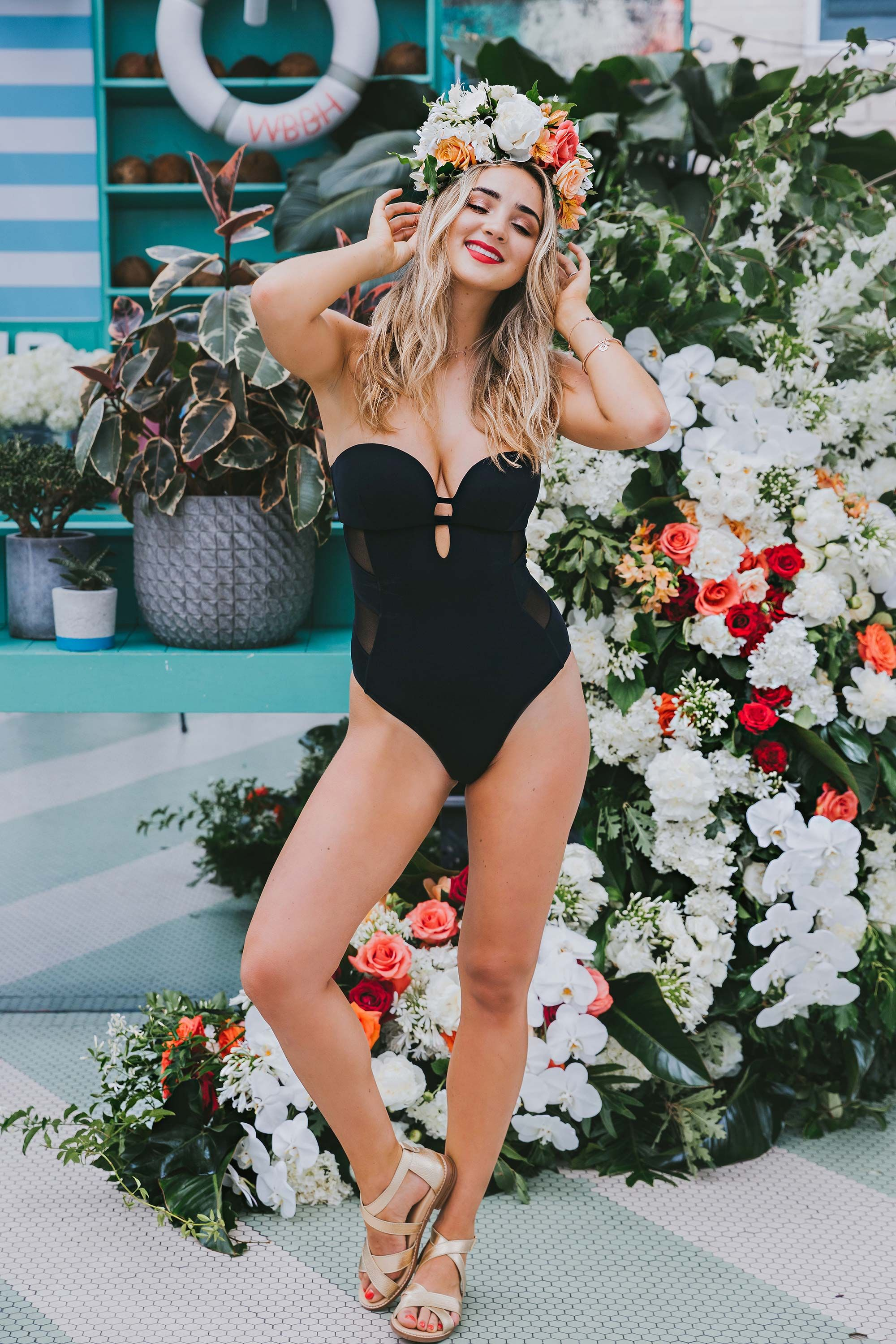 Bared_Footwear_Engagement_Party_With_Lenzo_Womens_Gold_Leather_Robin_Sandals_Black_Swim_Suit_Sydney