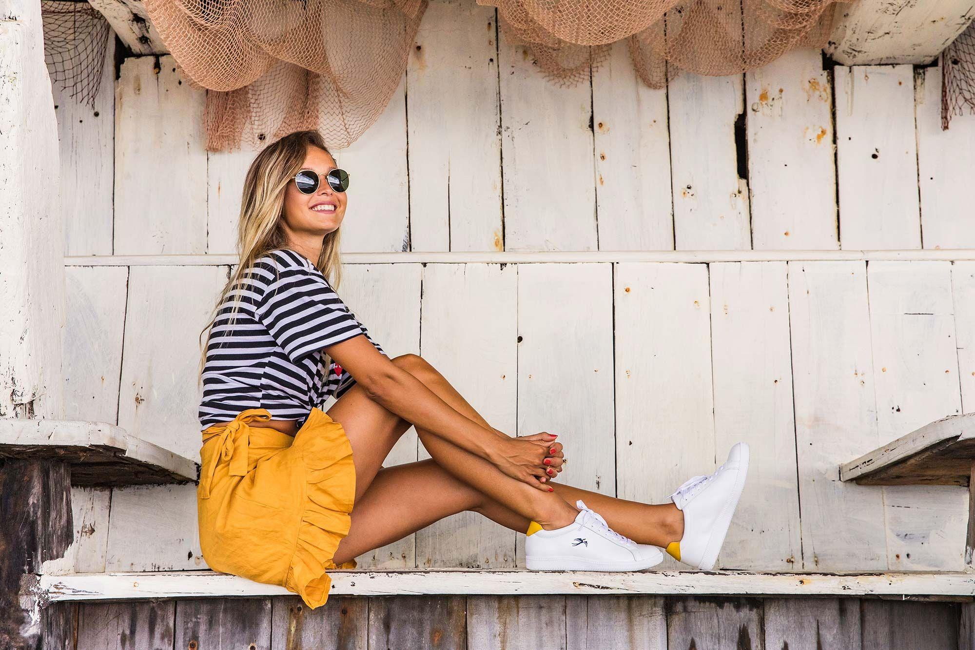 Bared_Footwear_La_Brisa_Bali_Travel_Summer_Womens_Campaign_Sandpiper_White_Yellow_Sneakers_Yellow_Skirt