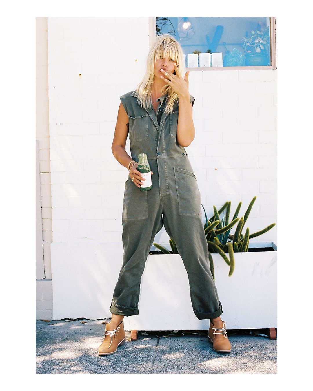 Bared_Footwear_Womens_Collaboration_Anna_Feller_Tan_Leather_Nuthatch_Desert_Boots_Green_Pant_Suit