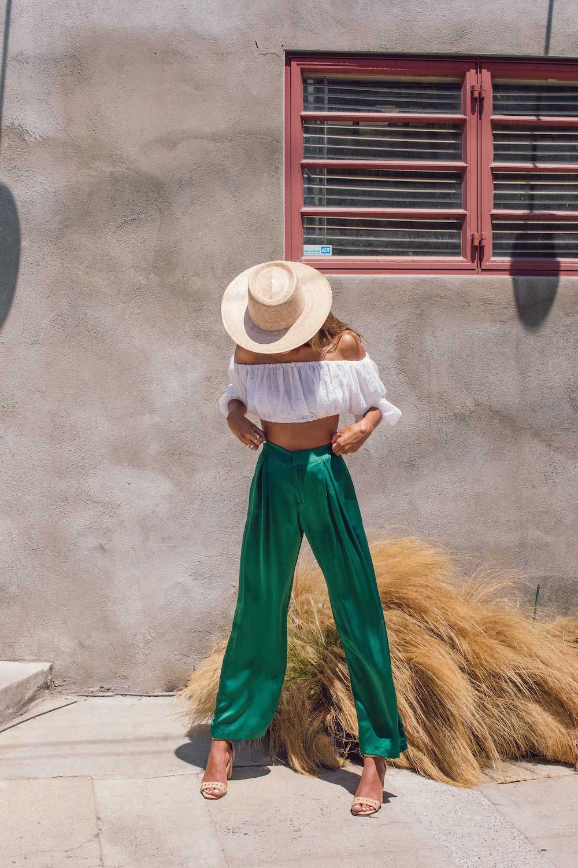 Bared_Footwear_Womens_Spoonbill_Tan_Heels_Green_Pants_LA_Summer
