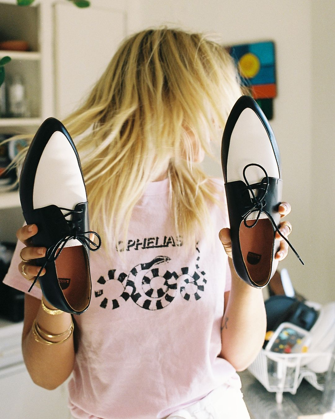 Bared_Footwear_Womens_Collaboration_Anna_Feller_Penguin_Black_White_Leather_Lace_Ups_Pink_Tshirt