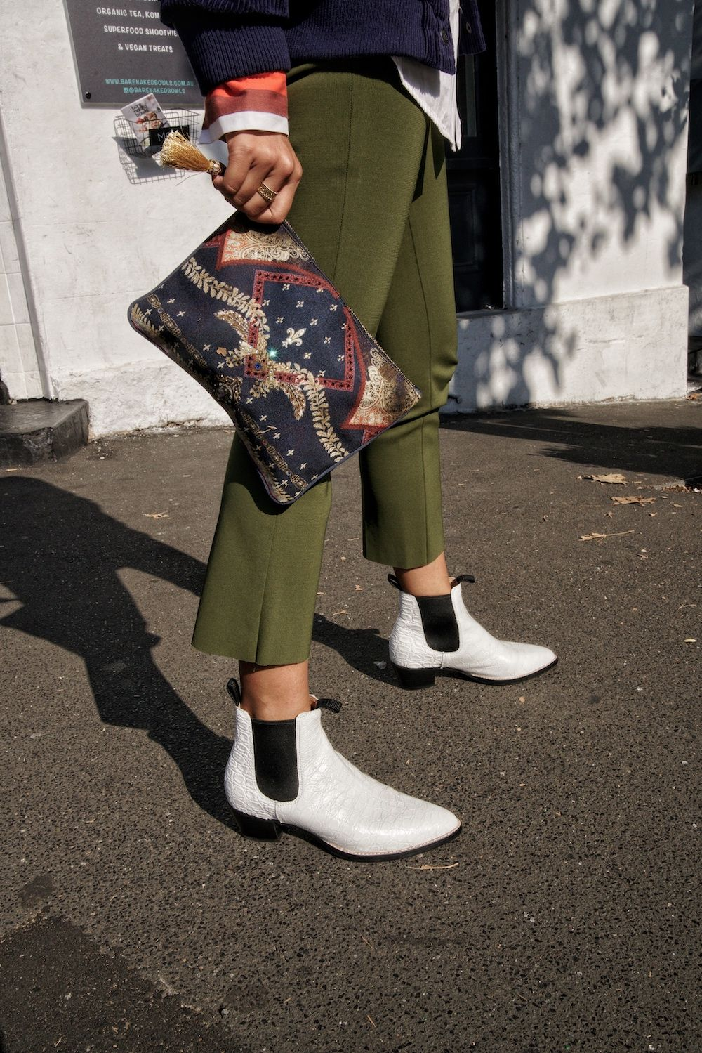 Bared_Footwear_Helen_Chik_White_Woodpecker_Leather_Ankle_Boots_Fashion_Week_Green_Pants