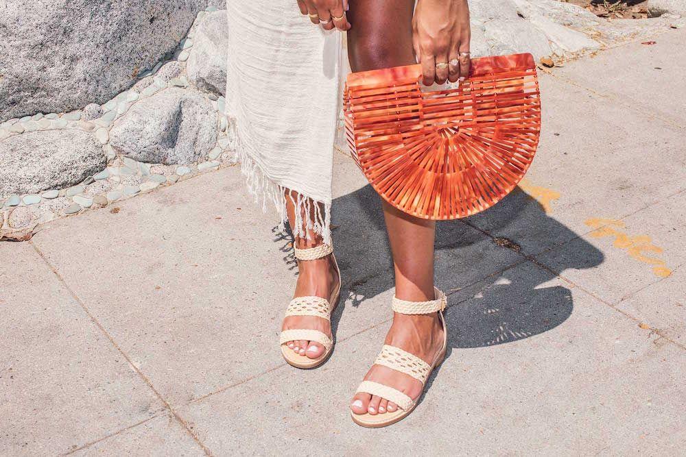 Bared_Footwear_Womens_Linnet_Cream_Sandals_Orange_Bag_LA_Summer