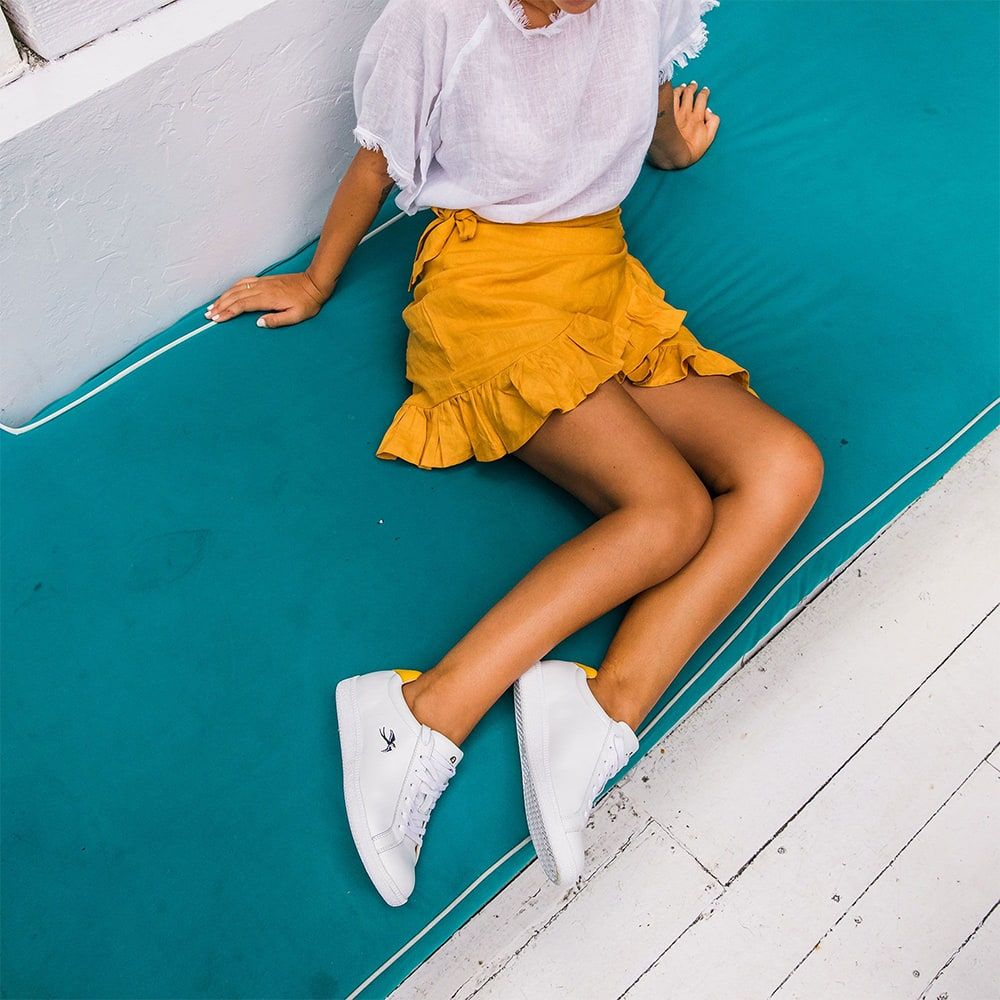 Bared_Footwear_Womens_Summer_Campaign_Bali_Motel_Mexicola_Sandpiper_White_Yellow_Leather_Sneakers_Yellow_Skirt