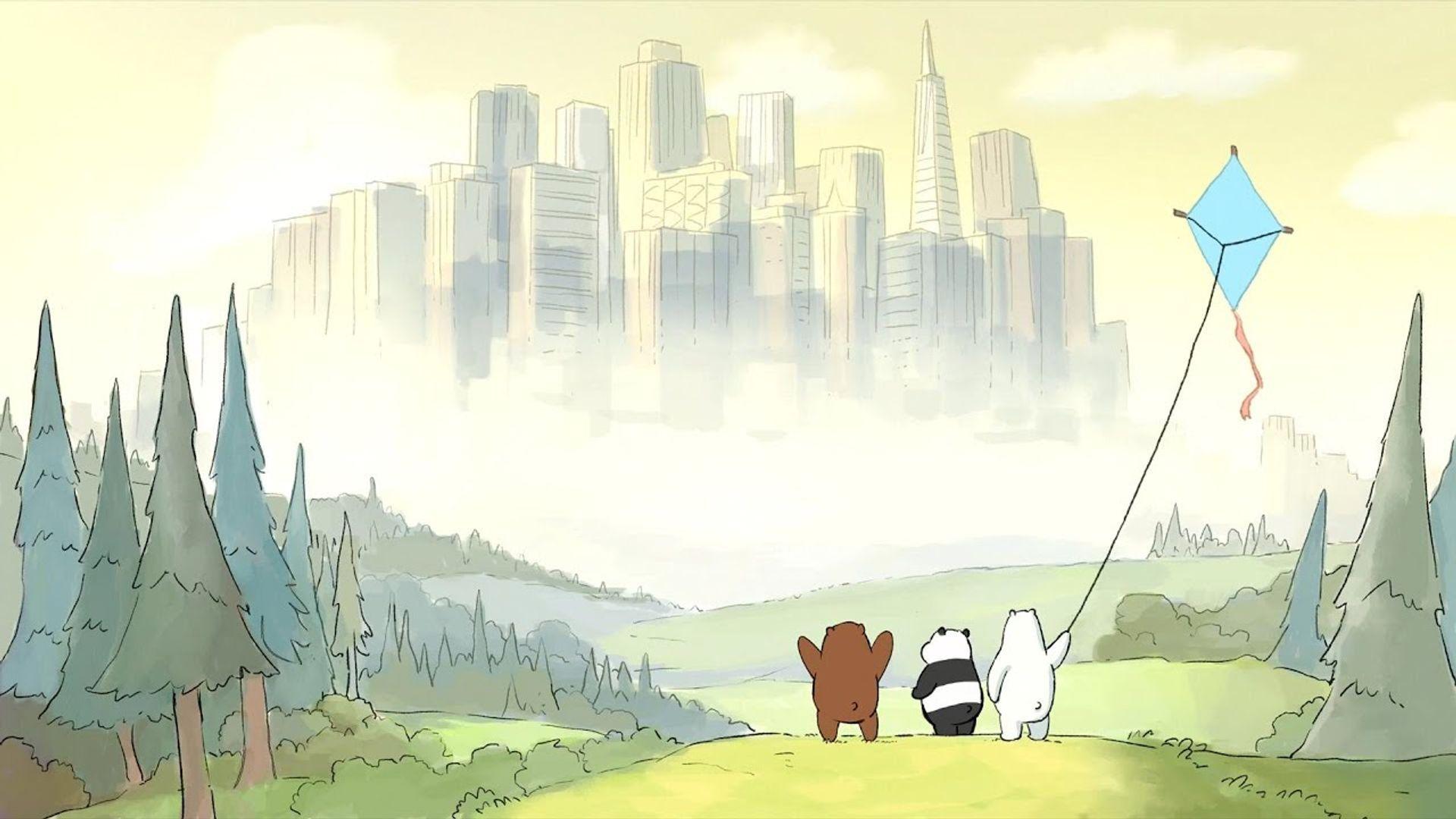 Os 3 Ursos brincam com uma pipa.