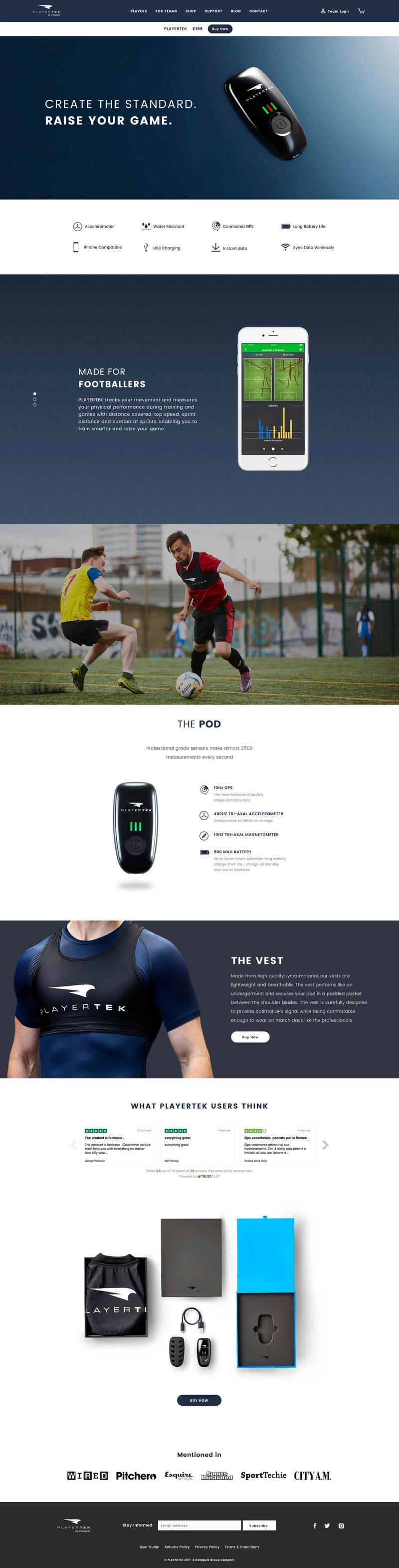 PlayerTek Product Page - Large Screen
