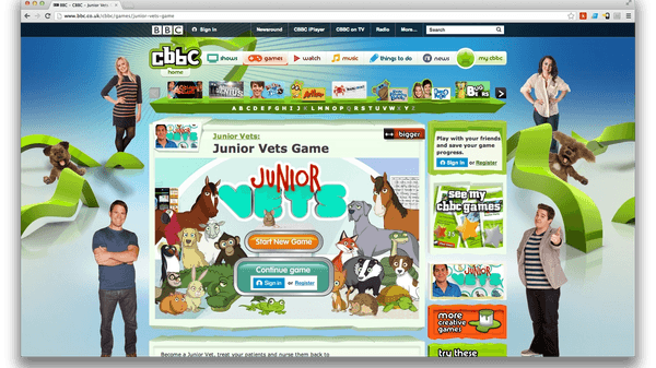 Image of the Junior Vets game on the CBBC games website
