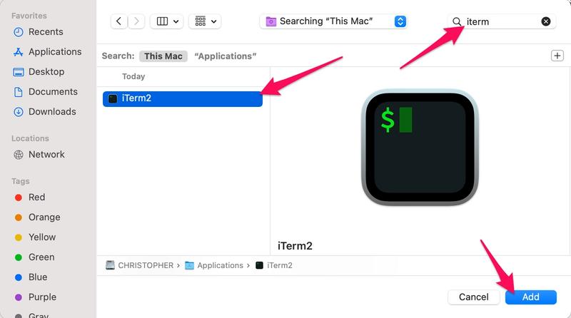 add iterm2 to login items