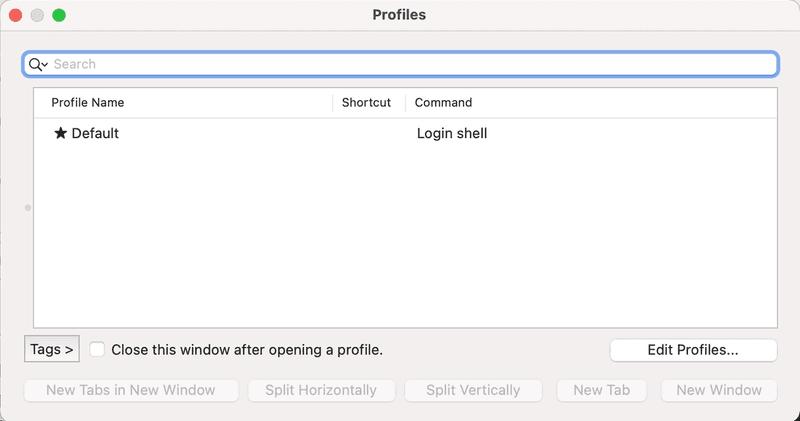 iterm2 profiles menu open