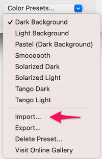 iterm2 preferences color presets menu