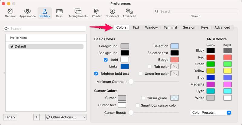 iterm2 preferences colors