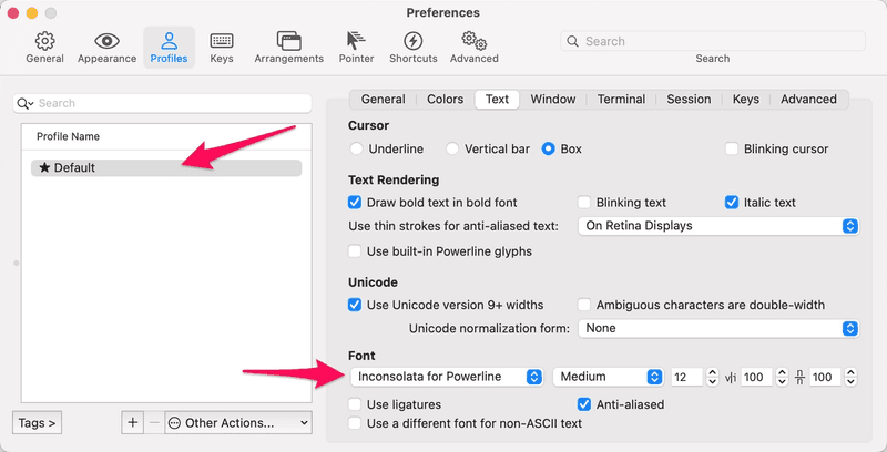 iterm preferences text font inconsolata for powerline