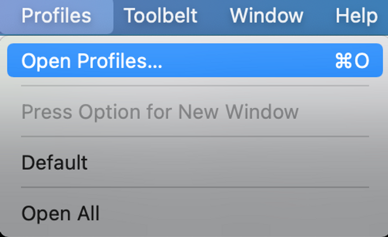 iterm2 profile menu