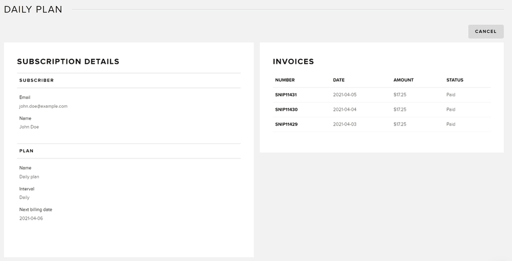 subscription in dashboard