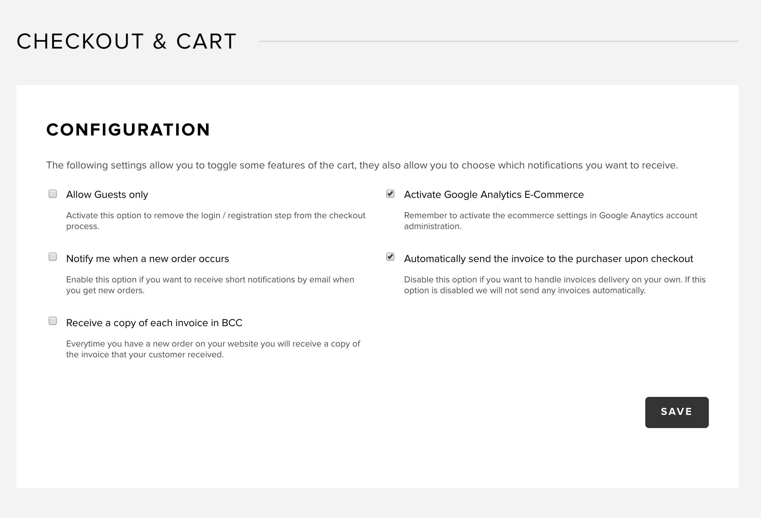 Checkout and cart settings in Snipcart dashboard