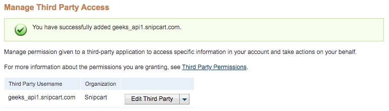Third Party Permissions Granted
