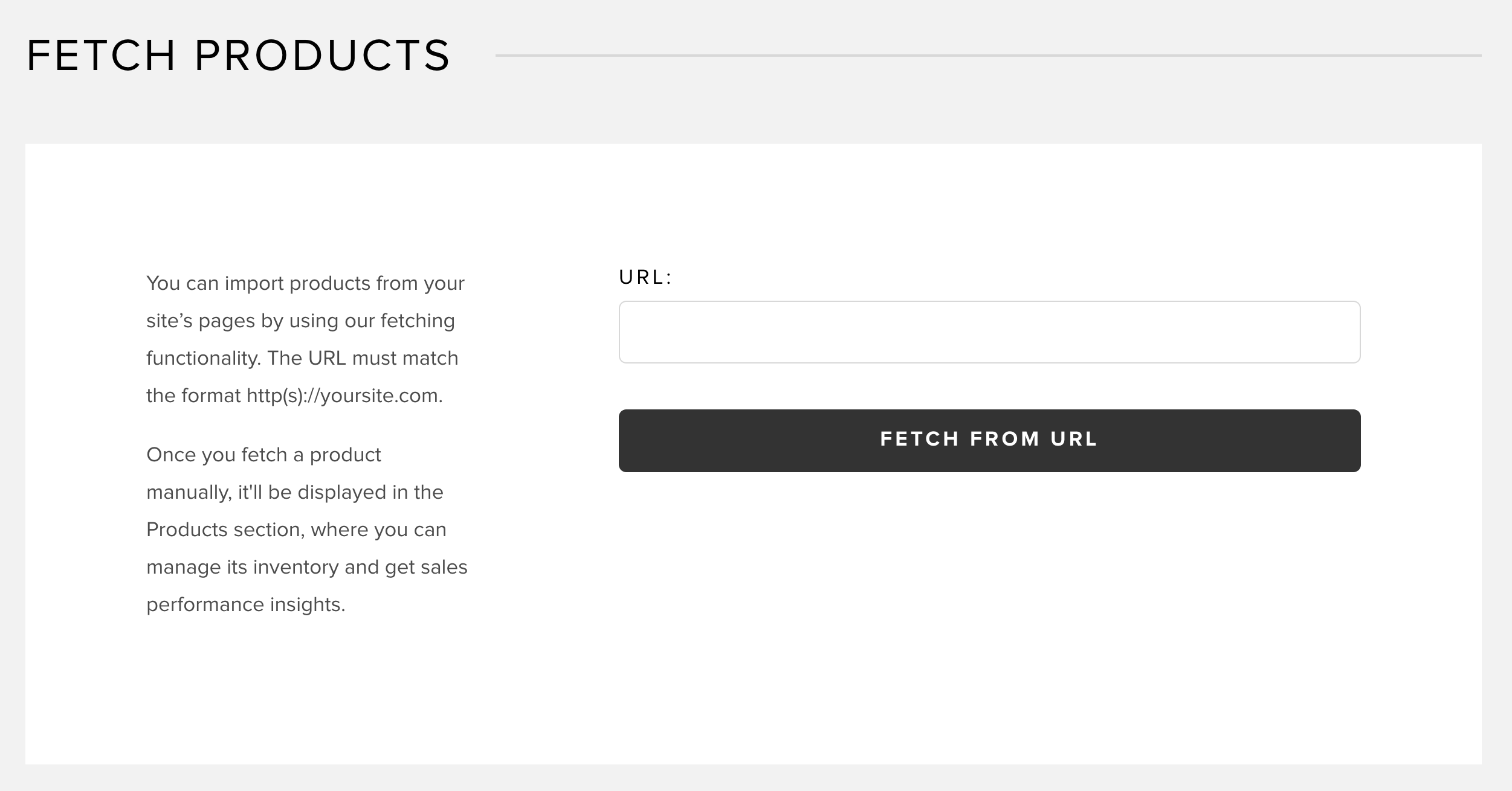 Fetching products with URL in Snipcart dashboard