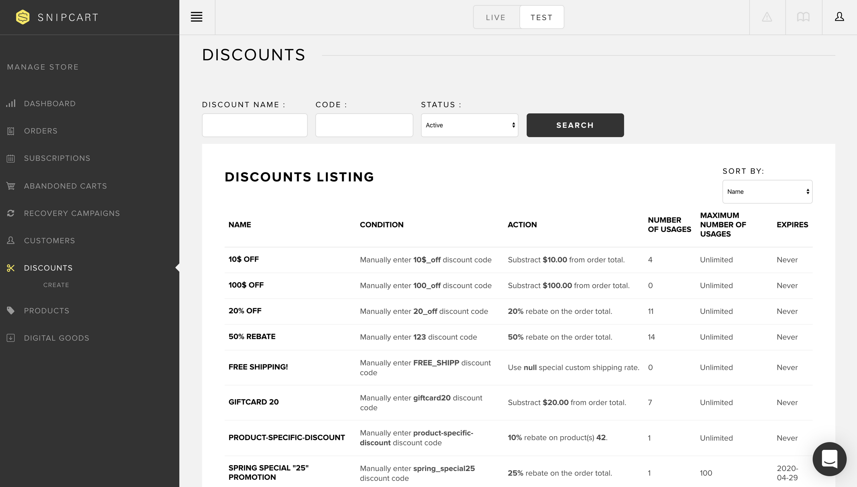 Discounts list in Snipcart dashboard