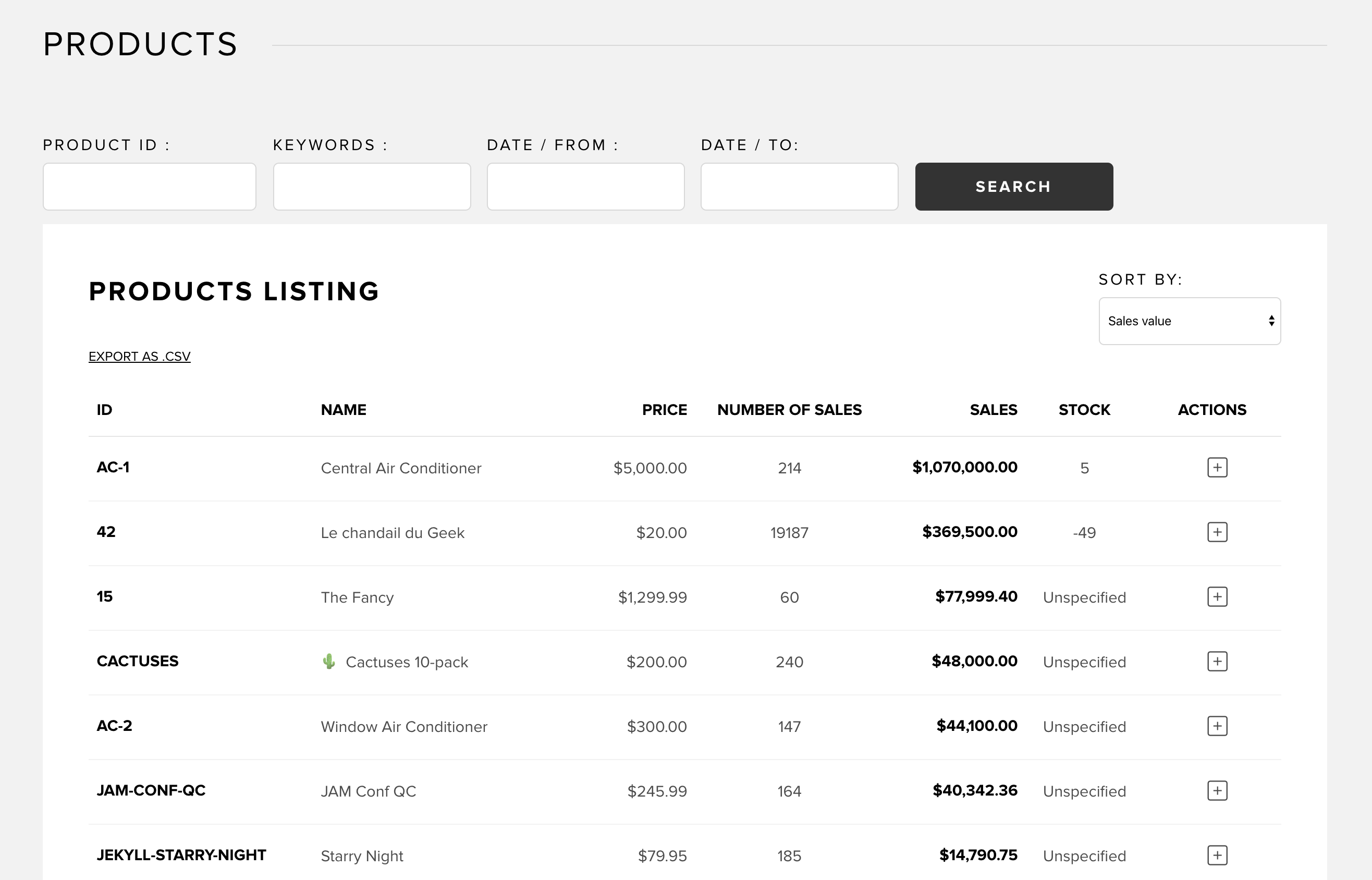 Products listing in Snipcart dashboard
