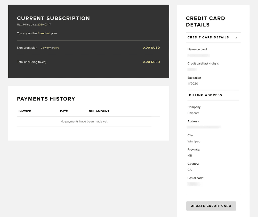 Billing and subscription screen in Snipcart dashboard