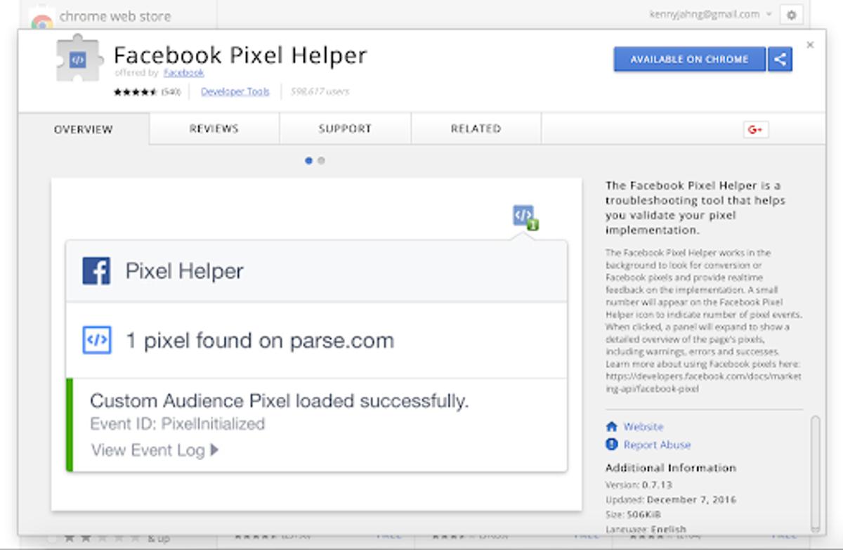 Facebook pixel helper for church website
