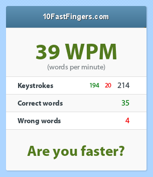Screenshot of 10FastFingers.com: 39 words per minute