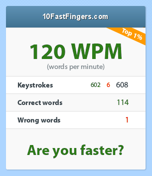 Screenshot from 10FastFingers.com: 120 words per minute